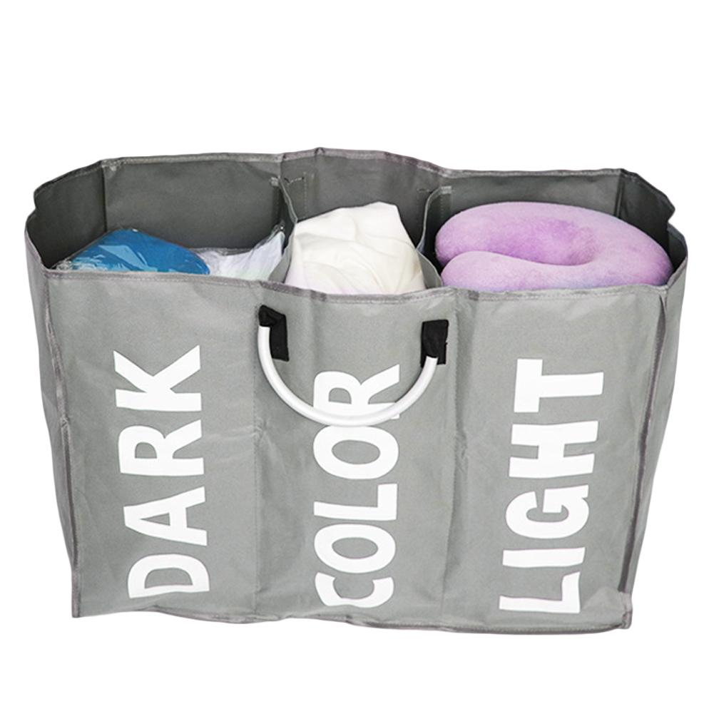 Organizer 3-Section Large Foldable Oxford Laundry Basket Bag Dirty Clothes Storage Bag Organizer With Aluminum Handles