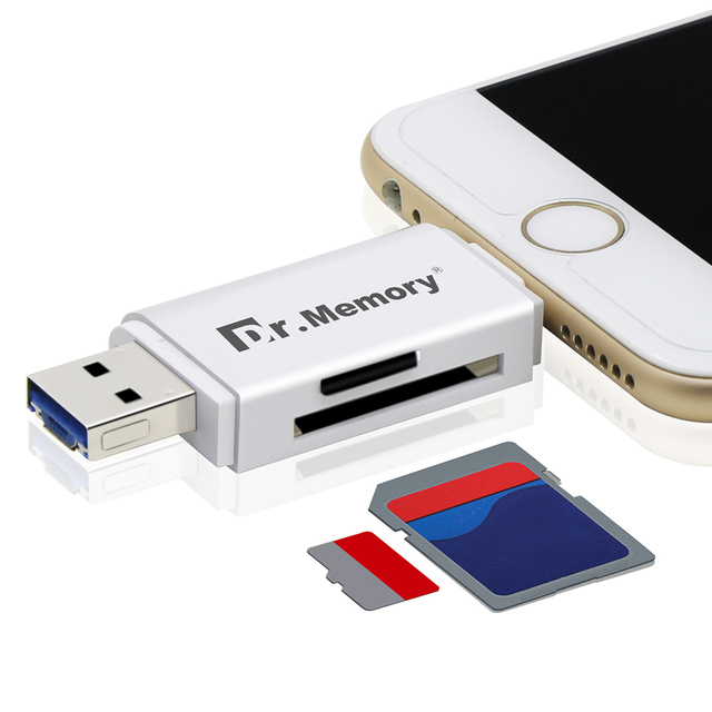 huge selection of 2ce2a e5974 US $12.35 |External storage microsd TF card reader usb 3.0 SD card adapter  for Apple iphone 6s 7 plus multi use metal pendrive for iOS10+-in Card ...