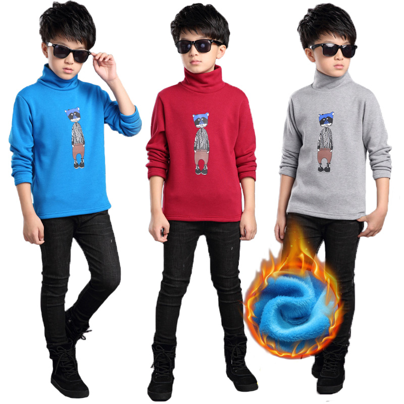 V-TREE Childrens T-shirts Autumn Cartoon Thermal Underwear For Teenage Winter Velvet Shirts Boys Sweatshirt Kids Tops