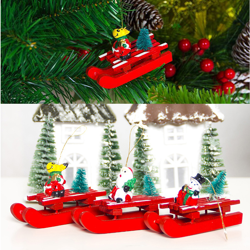 Forceful Soledi Christmas Sled Pendant Christmas Day Decoration Wooden Unique Kids Gift Wooden Sleigh Hanging Wall Hangings Diamond