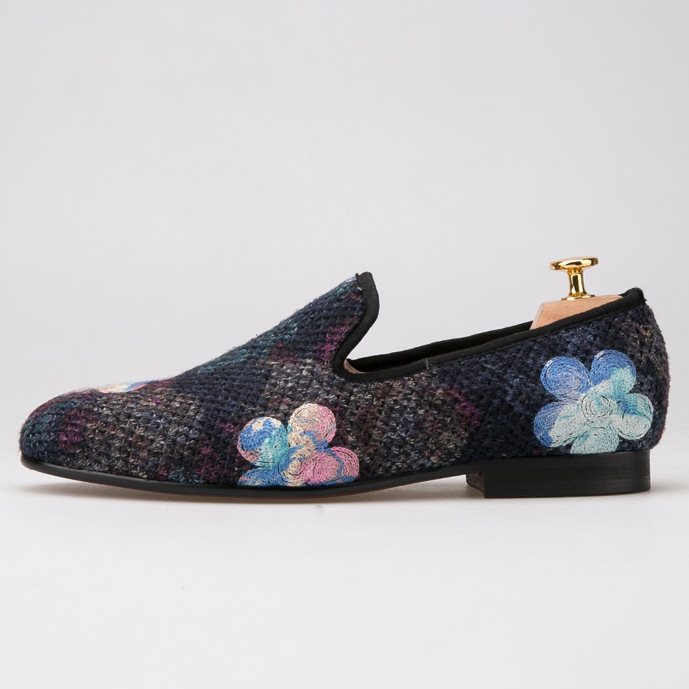 Men Shoes Flower Wedding Party Men's New with Printing And Loafers Fashion Ethnic-Style