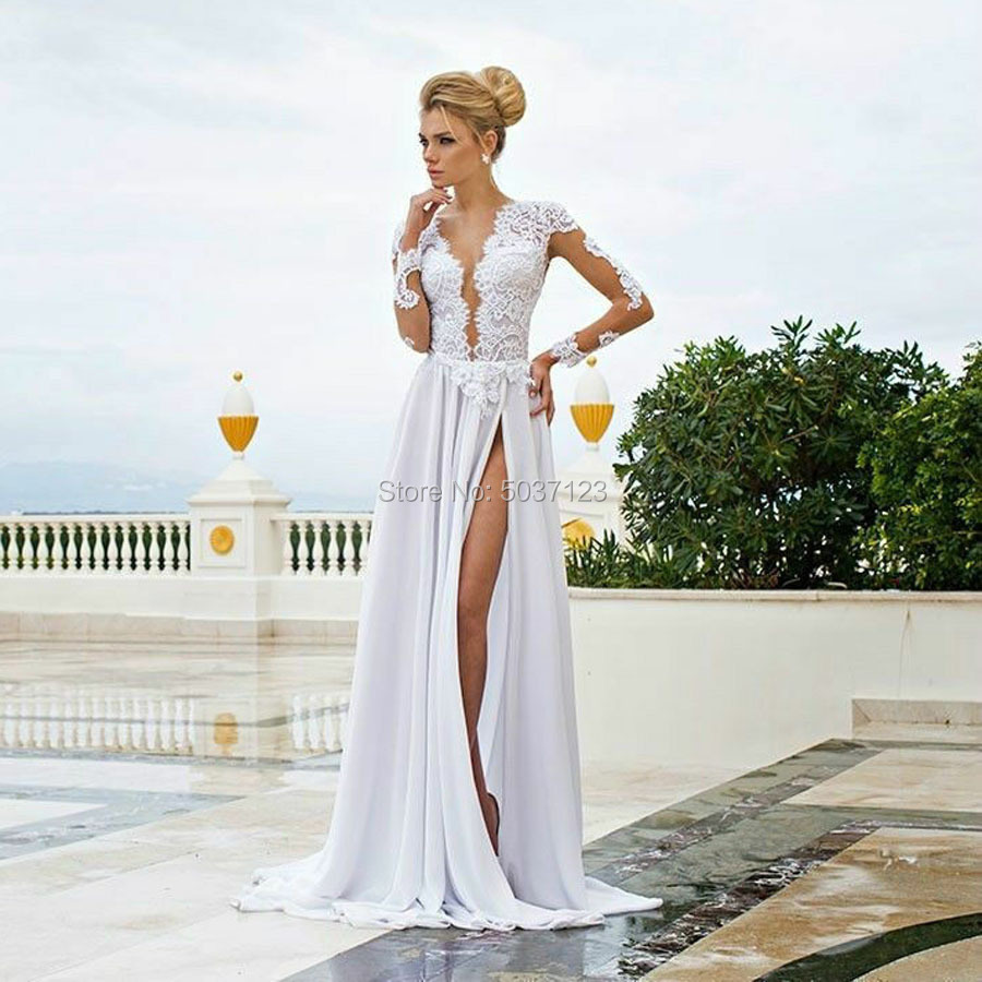 Beach Wedding Dresses Robe De Mariée A Line Sexy Deep V Neck High Slit Chiffon Boho Bridal Wedding Gowns Vestido De Noiva