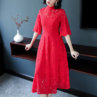 Lady Elegant Red Lace Dresses Party Dresses Summer Style Fashion Woman Clothes Brand Designer Women Runway