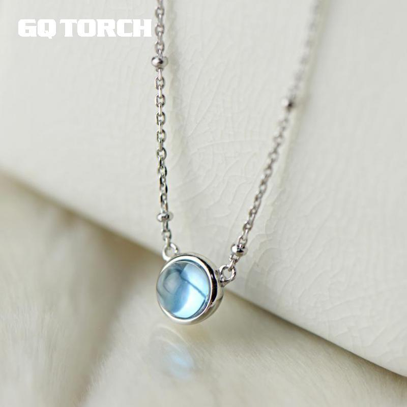 Gqtorche colliers et pendentifs élégant 925 en argent Sterling collier ras du cou pour les femmes avec Simple rond naturel topaze pendentif