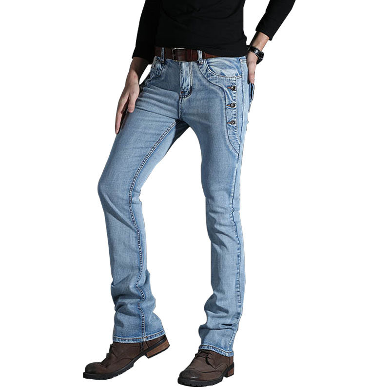 Pants Trousers Jeans Boot-Cut Flared Slim Summer Casual Mens Denim Business Spring