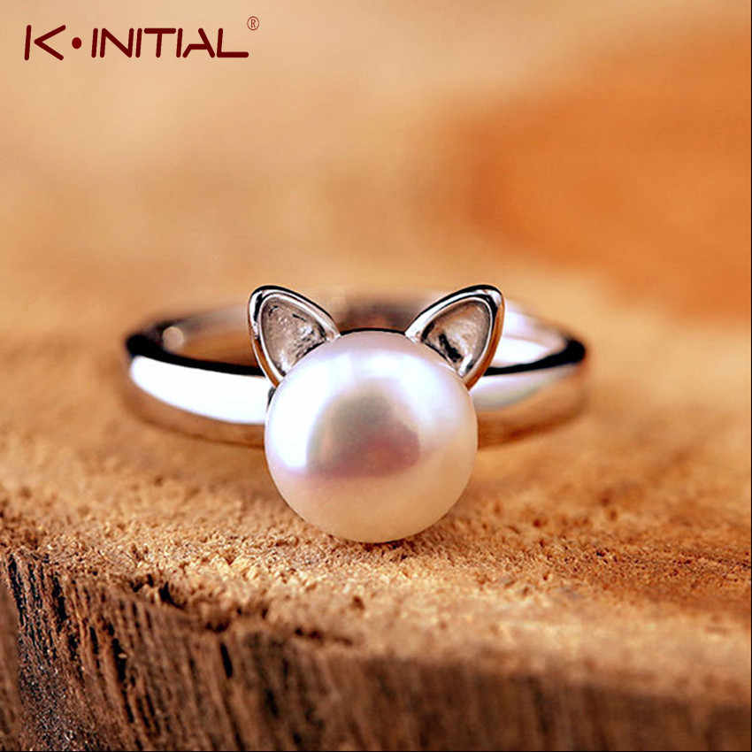 Retro Silver Pearl Cat Ears Ring Open Adjustable Animal Paw Rings For Women Fashion Finger Wrap Jewelry Wholesale Kinitial