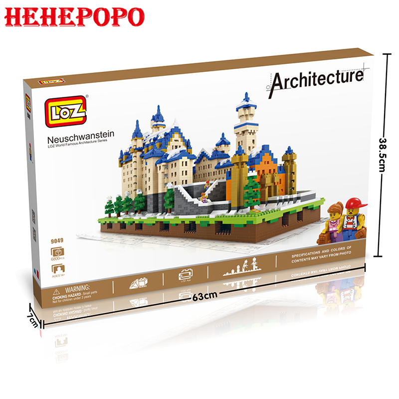 6800pcs Big Size Swan Lake Castle Shaped Diamond Assembled Blocks With LED Base World Famous Architecture Building Nanoblock Toy 2017 world famous architecture statue of liberty new york america usa united states mini diamond building block nanoblock model