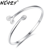 NEHZY – bracelet en argent pour femmes, bijoux de marque, haute mode, gardien de feuille de fleur, bague de main, ouverture réglable, doux