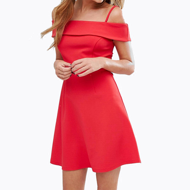 b303674ad621 Red spaghetti strap fold over off the shoulder midi dresses for women  ladies sexy cold shoulder fit and flare party dresses