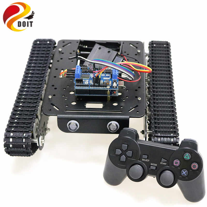 PS2 Joystick Control Shock Absorper Smart Robot Tank Chassis With Dual DC  Motor+Arduino Board+Motor Driver Board For DIY Project
