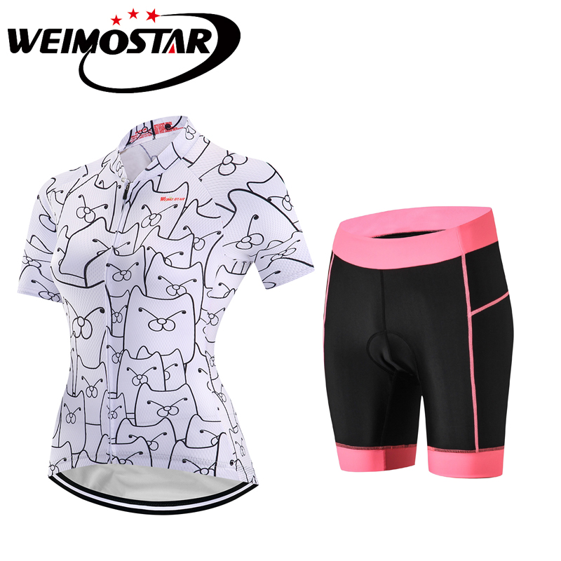 Weimostar Cool Pink Girls Cycling Jersey Set Short Sleeve Women Sportswear Summer Bike Cycling Clothing Ropa Ciclismo Maillot