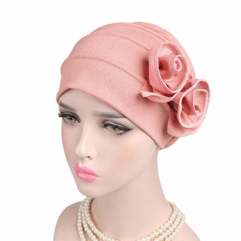 d240bfe4826 Helisopus 2019 New Lady Fashion Elegant Chemo Cap Double Flower Stretchy Cap  Muslim Turban Women s Wrinkle