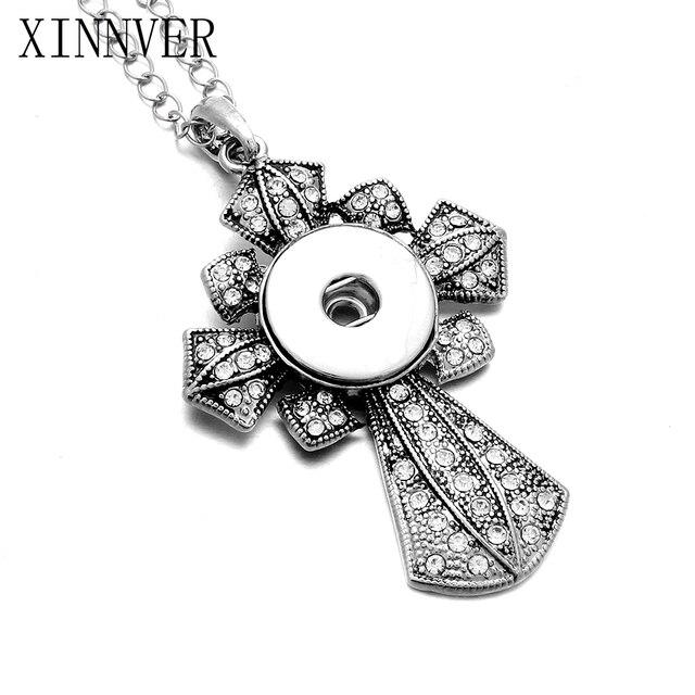 Hợp Thời Trang NEW Style Chéo Snap Vòng Cổ & Mặt Dây Chuyền Với Liên Kết Chain Fit 18 mét Chụp Nút Jewelry Cho Phụ Nữ