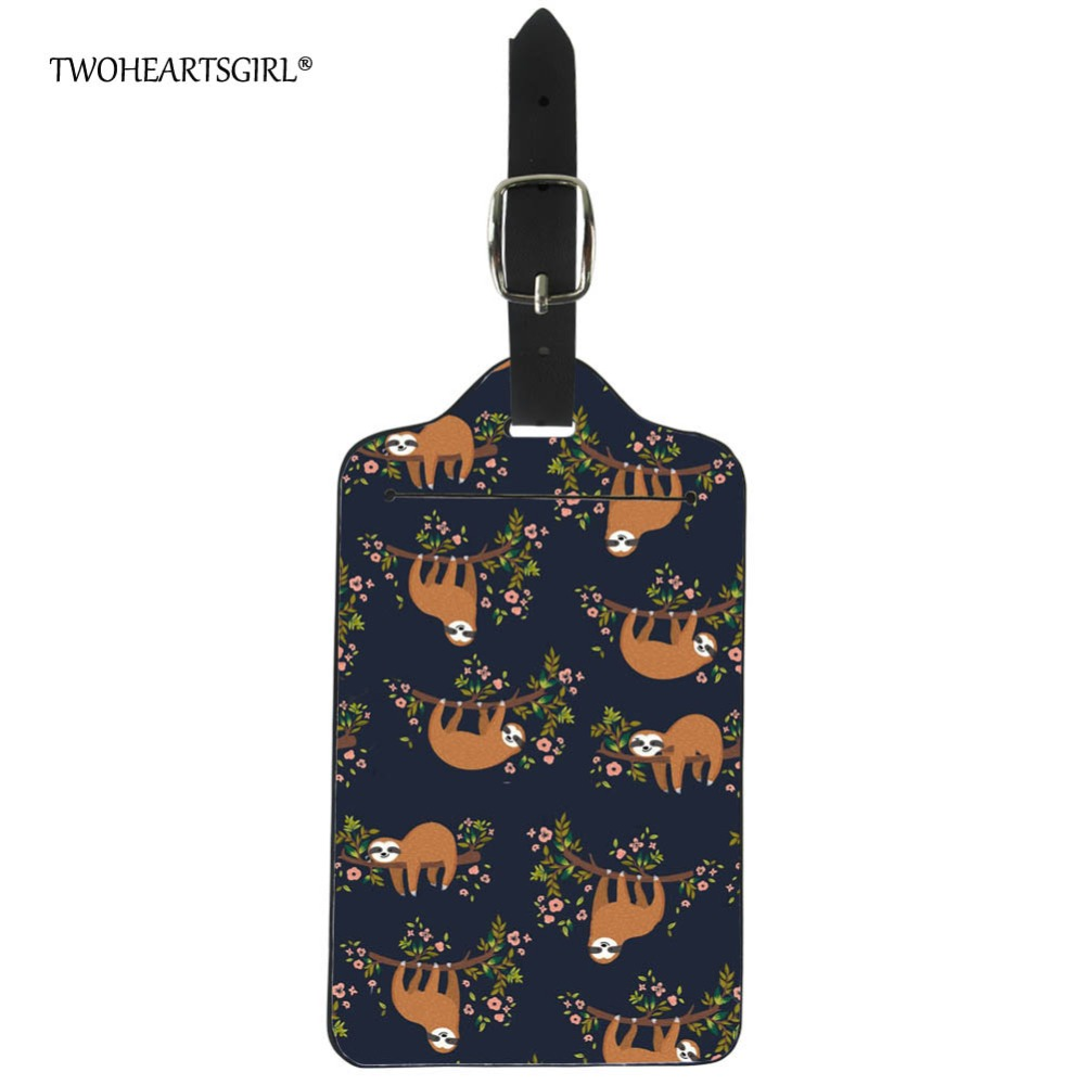 Twoheartsgirl Cute Floral Sloth Baggage Label Travel Accessories Tag Leather Kawaii Suitcase Name Address Id Holder Boarding Tag