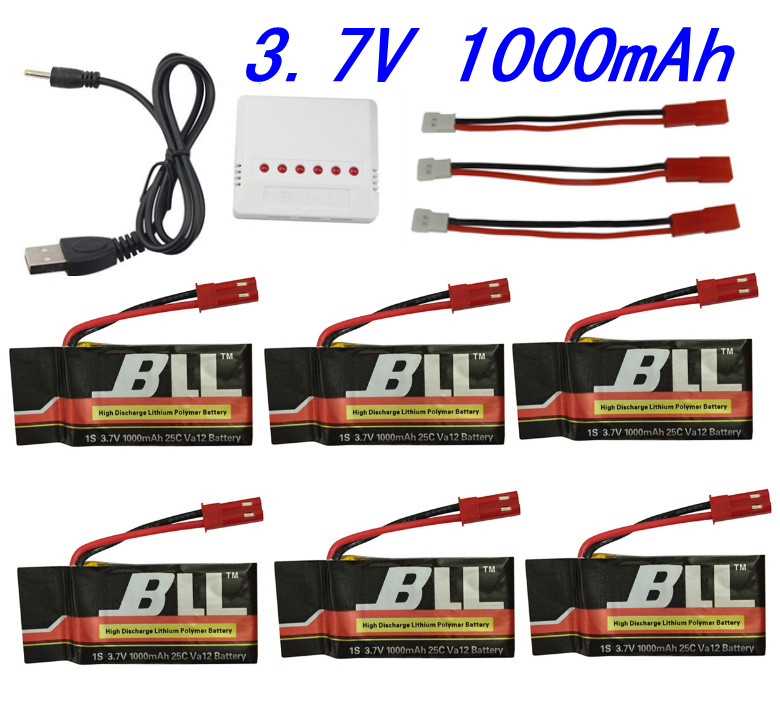 MJX X300 X400 X500 X800 FY550 HM1315 HJ819 6pcs 3.7V 1000mAh Battery 6 In 1 Charger JST Charging Cable Parts for MJX RC Drone 3pcs battery and european regulation charger with 1 cable 3 line for mjx b3 helicopter 7 4v 1800mah 25c aircraft parts xt30