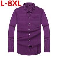 big size Men French Cufflinks Shirt Men's Shirt Long Sleeve Casual Male Brand Shirts Slim Fit French Cuff Dress Shirts For Men