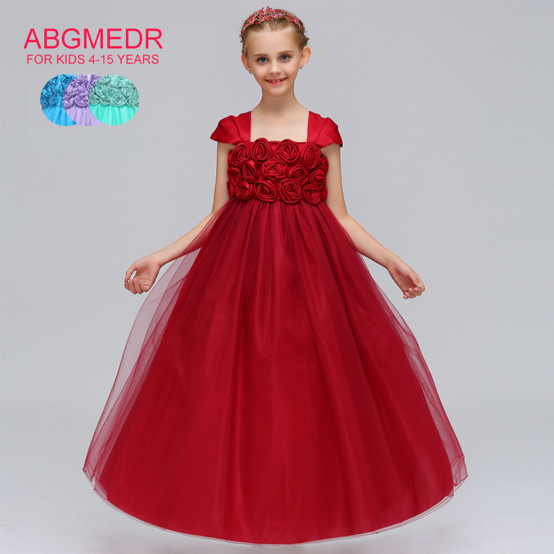 ABGMEDR 2018 New Teenage Girls Dresses Kids Prom Dress Flower Dress for Wedding and Party Wear Clothing Children Blue Clothes цена