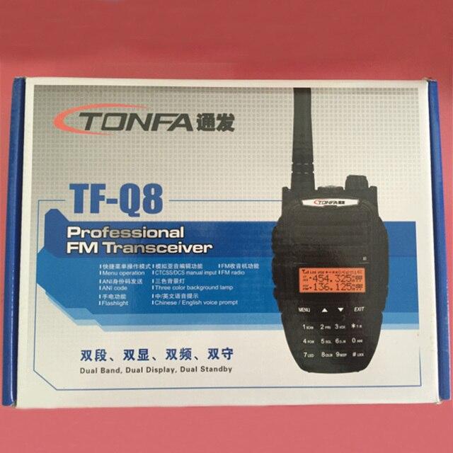 US $54 0 |100% New Radio Walkie Talkie TONFA TF Q8 VHF+UHF 256 Memory  Channel 10W 3800mAh FM Radio Flashlight VOX Scan Two Way Radio-in Walkie  Talkie