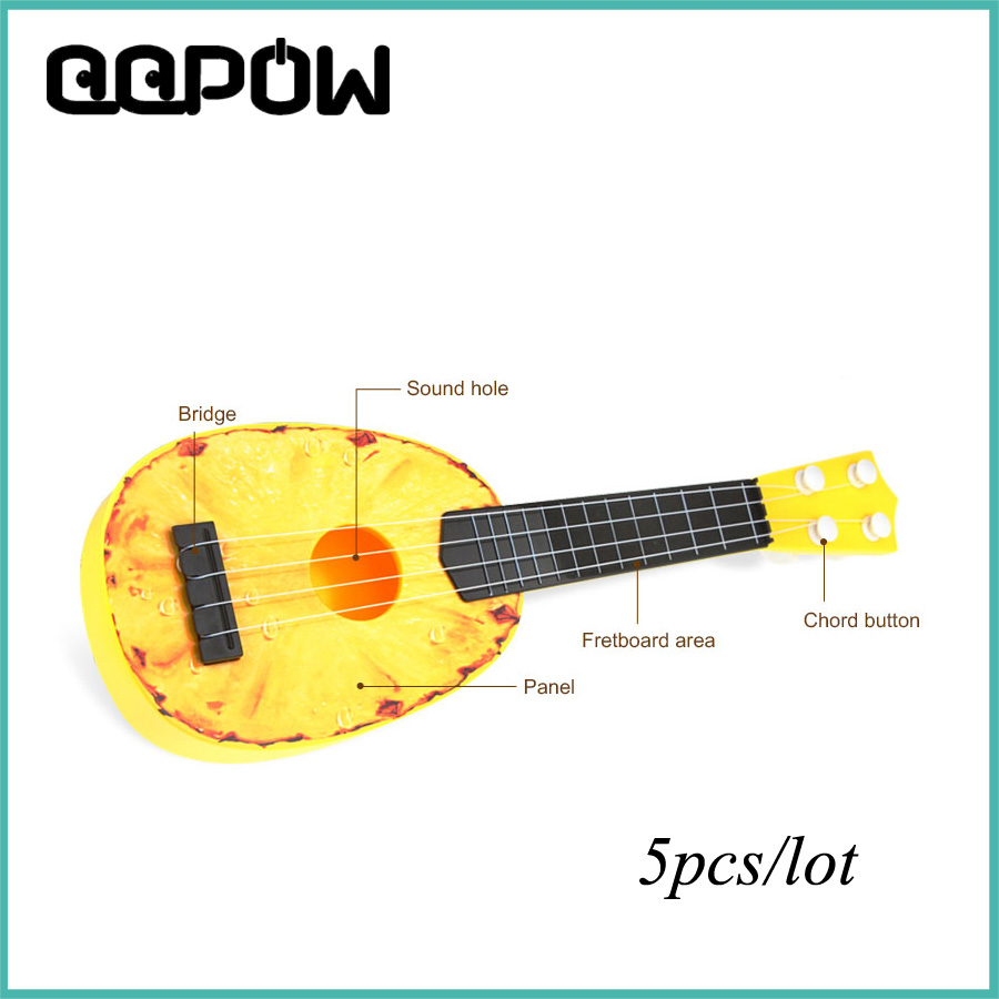 5pcs lot 4 string acoustic guitar fruit mini simulation ukulele toy guitar nice xmas gift for. Black Bedroom Furniture Sets. Home Design Ideas