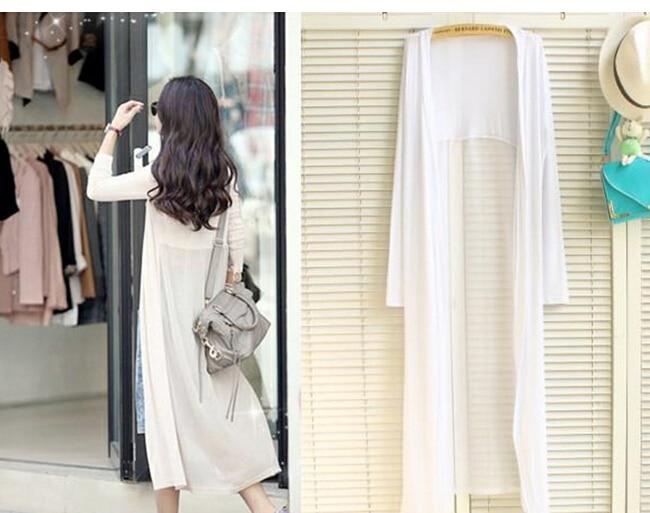 2015 cotton women long cardigan black white gray classic outwear ...