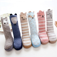 Newborn Anti Slip Baby Socks Knee High Long With Rubber Soles Cartoon Striped Children Toddler Shoes