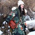 MX156 2016 печатных обратимым зимнее пальто енота меховым воротником с капюшоном толщиной свободные x длинные теплые двухстороннее белая утка пуховик женщин