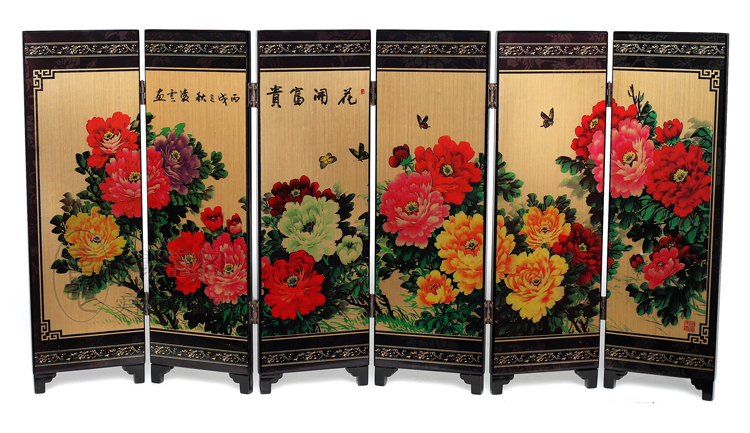 Decoration Arts crafts girl gifts get married Antique wooden lacquerware small screen blossoming China wind business gift painti
