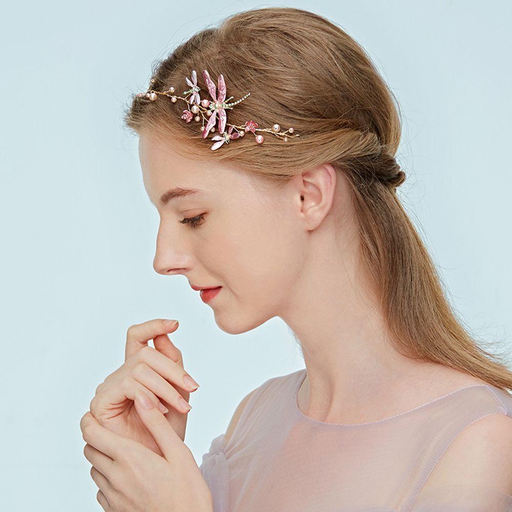 1 Pièces Doux Femmes Libellule Simulé-perle Mariée Bandeau Fleur Couronne Diadèmes Mariage élégant Bijoux Cheveux Renforcement Des Nerfs Et Des Os