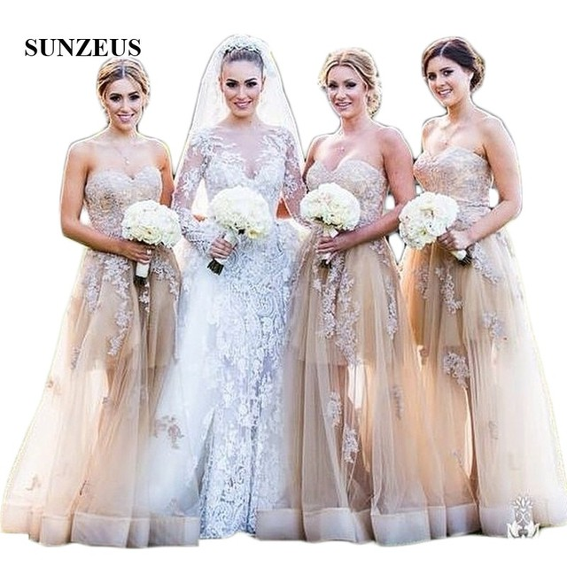 Champagne A Line Bridesmaid Dresses 2018 Sweetheart Liques See Though Tulle Skirt Elegant Wedding Guest