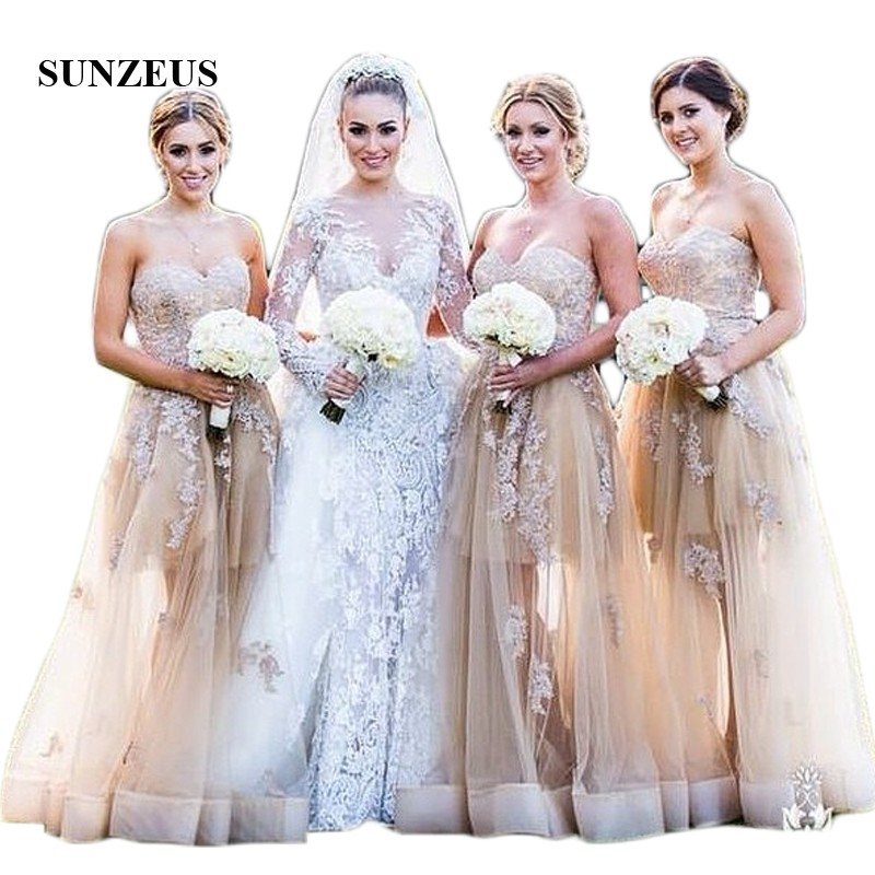 Champagne A-Line   Bridesmaid     Dresses   2018 Sweetheart Appliques See Though Tulle Skirt Elegant Wedding Guest   Dresses   SBD104