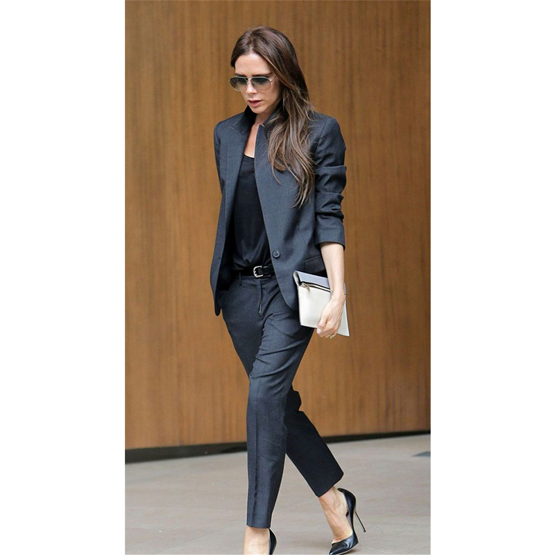 Custom Dark Gray Womens Business Suits Womens Office Uniforms Pants Formal Suits Womens Tuxedos 2 Piece Set Blazer