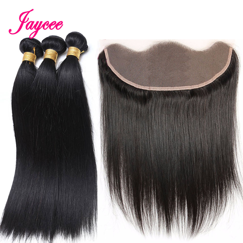 Jaycee Malaysian Straight Hair Frontal With Bundles Natural Black 3 Bundles With Frontal Human Hair Bundles Hair Extensions Remy