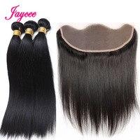 Jaycee Malaysian Straight Hair Frontal With Bundles Natural Black 3 Bundles With Frontal Human Hair Bundles Hair Extensions