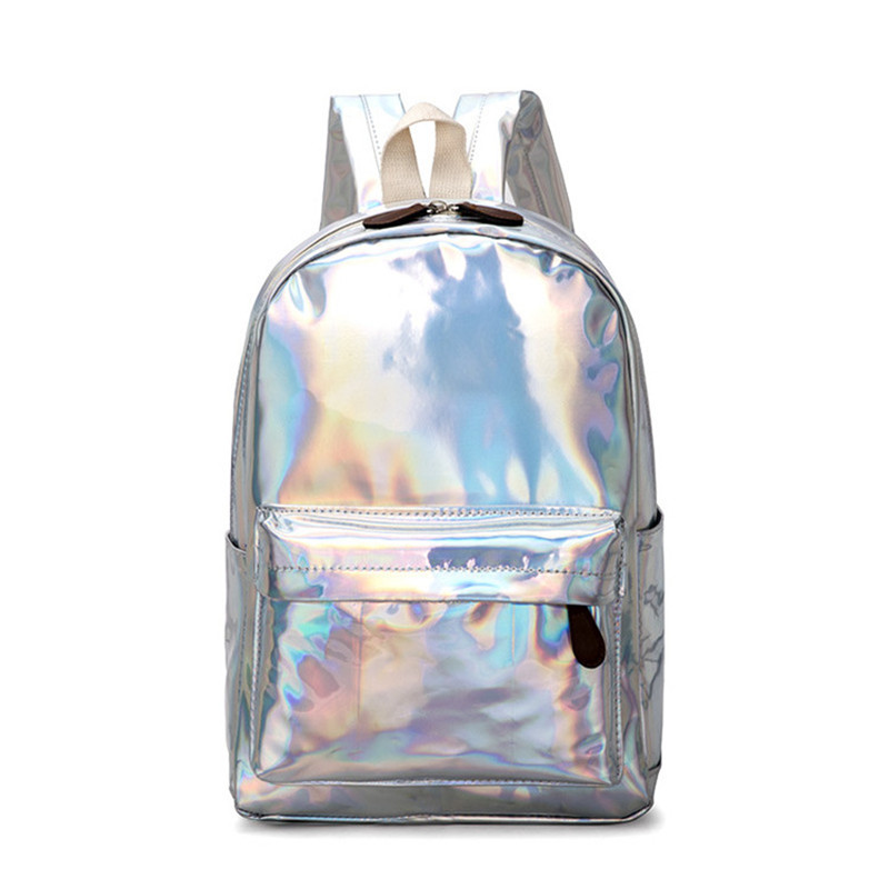 2020 New Women Backpack Travel Bags Silver Laser Backpack Women Girls Schoolbags Shoulder Bag PU Leather Holographic Backpacks image