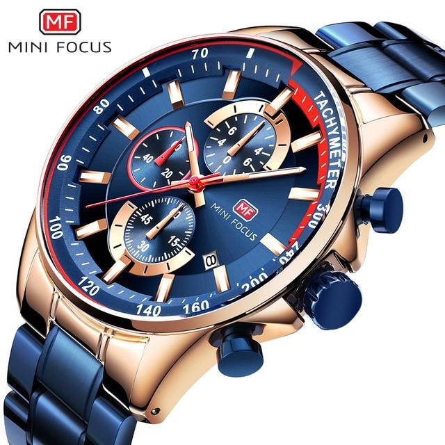 MINI FOCUS Luxury Brand Men Watches Stainless Steel Fashion Men's Wristwatch Quartz Watch Mens Waterproof Relogio Masculino Blue 1