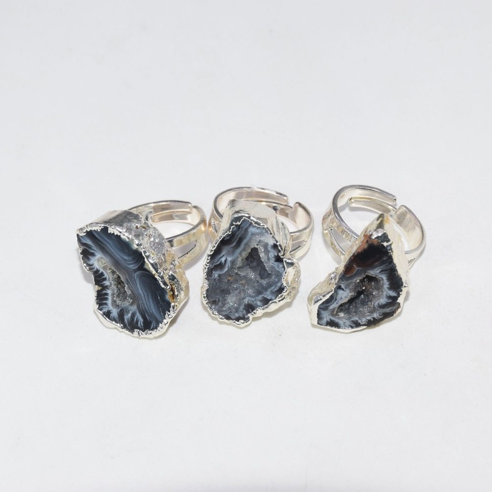 2019 New Style Silver Plated Cluster Geode druzy <font><b>Rings</b></font> for girl grey black <font><b>raw</b></font> slice <font><b>crystal</b></font> druzy quartz <font><b>rings</b></font> for women gift image