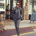 New Long Maxi Hoody Hooded Dresses Casual Slim Autumn Winter Dresses Women Fashion Plus Big Size