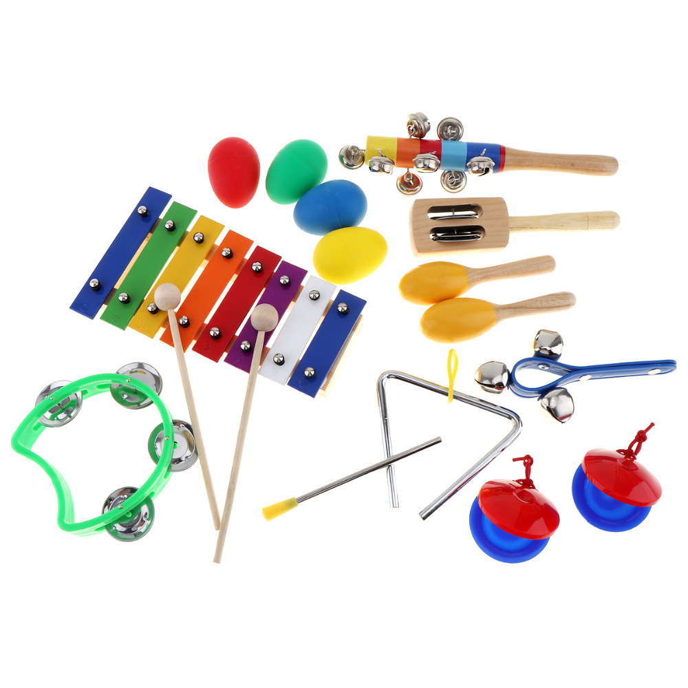 17pcs/set Musical Instruments 8 Tone Xylophone Set 9 Kinds Kids Percussion Toys for Kids Children Baby Early Education
