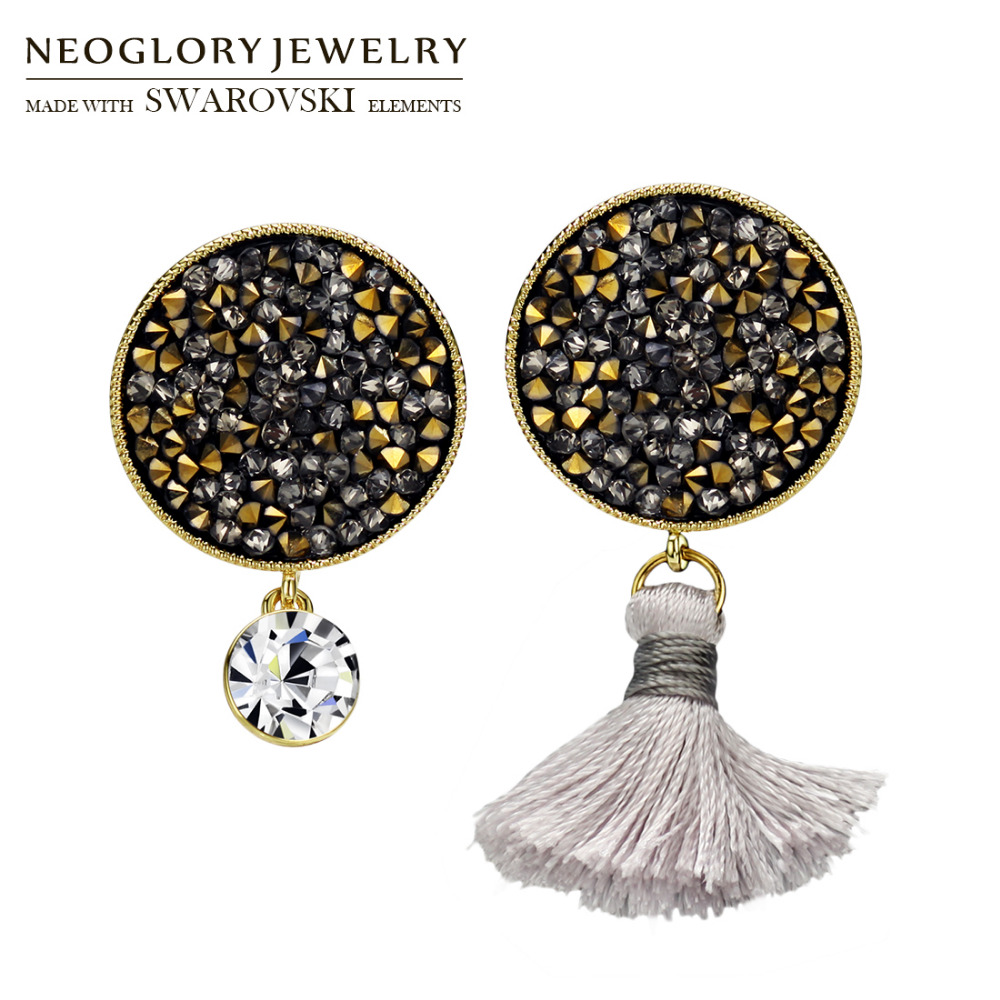Neoglory Rhinestone   Tassels Dangle Earrings Round Stone Geometric Style  Office Lady Shining Daily Party Gift f60bf152d8e7