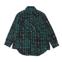 Cropped Hem Check Pattern Tweed Overshirt Side Slits Styling Turn Down Collar Shirts