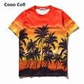 Мужчины Женщины Моды Гавайи Скейтборд Случайные Уличной Orange T-shirts Забавный футболка Хип-Хоп Растениеводство Топ Harajuku Тройник Cooo Coll
