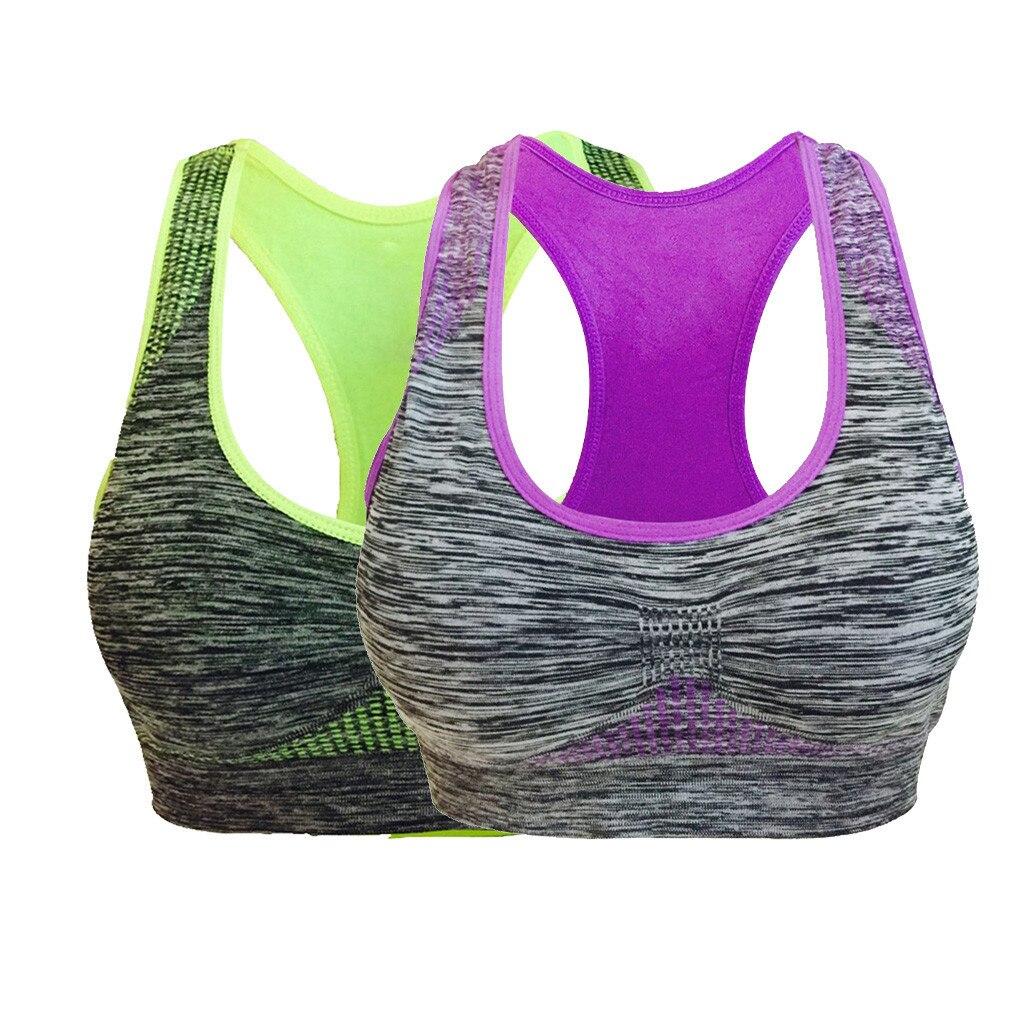 Damen Front Zip Sport-BH High Impact Fitness Workout Gepolsterte Weste Bra Top