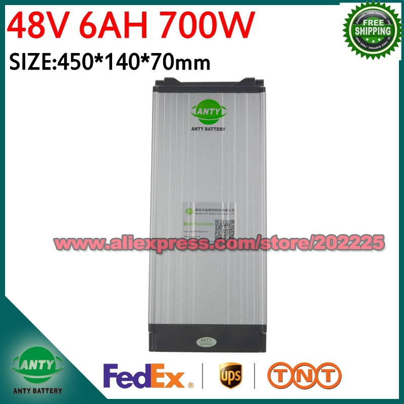 Ebike Battery 48v 6Ah 700W Electric Bike Battery 48v with 54.6V 2A Charger,15A BMS Lithium Scooter Battery 48v Free Shipping free customs taxes super power 1000w 48v li ion battery pack with 30a bms 48v 15ah lithium battery pack for panasonic cell