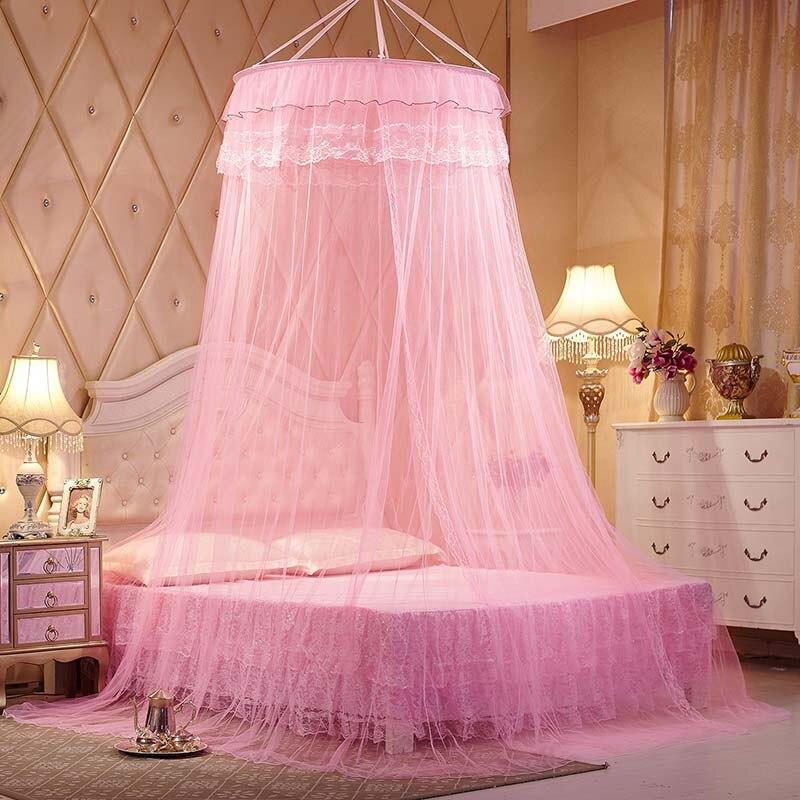 cama con dosel princesa rosa del insecto del mosquito de la puerta ventana de malla pantalla queen size cama con dosel mosquiter