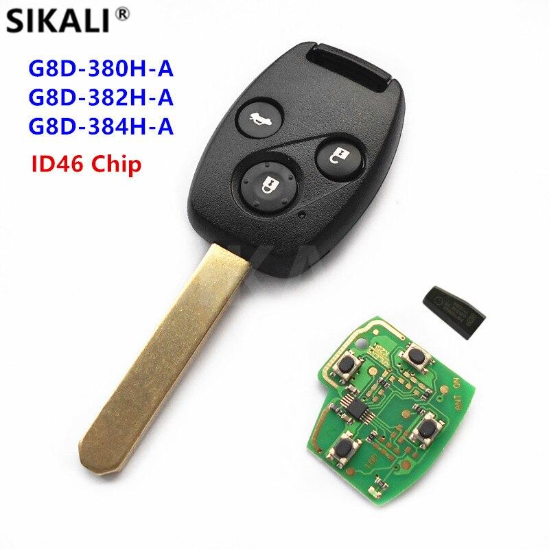 SIKALI À Distance Key Fit pour Honda pour Accord Element CR-V HR-V Ville Odyssey Civic Voiture Auto 3 Boutons