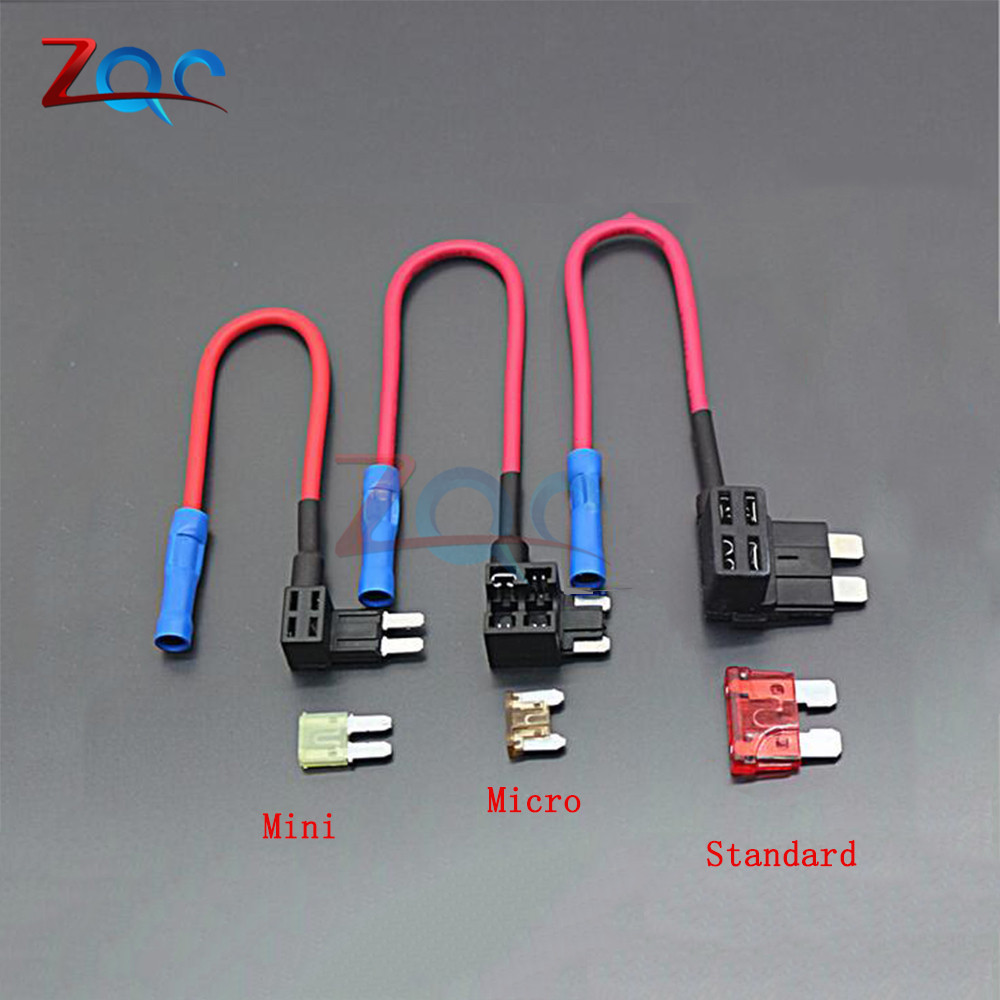 12V Fuse Holder Add-a-circuit TAP Adapter Micro Mini Standard ATM APM Blade Auto Fuse with 10A Blade Car Fuse with holder