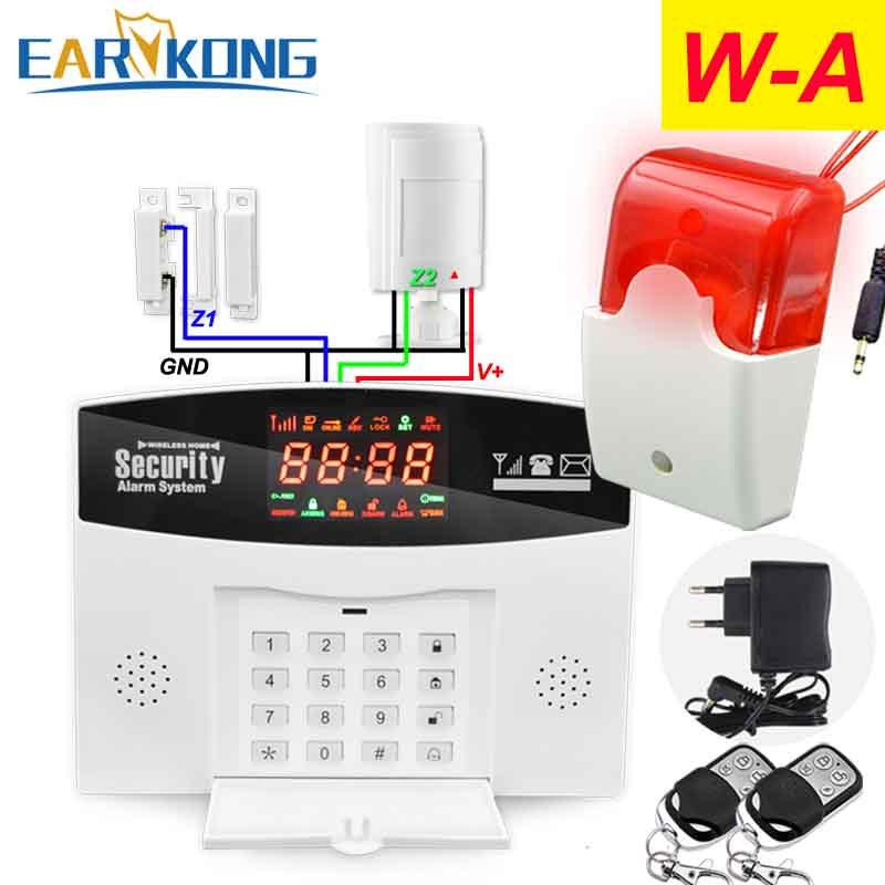 Hot Selling English/Russian/Spanish Wireless Wired GSM Home Alarm System Support Listen & Intercom, Support Wireless siren alarm free shipping hot selling new fashion wireless gsm alarm system 433 mhz 315mhz support english russian spanish language