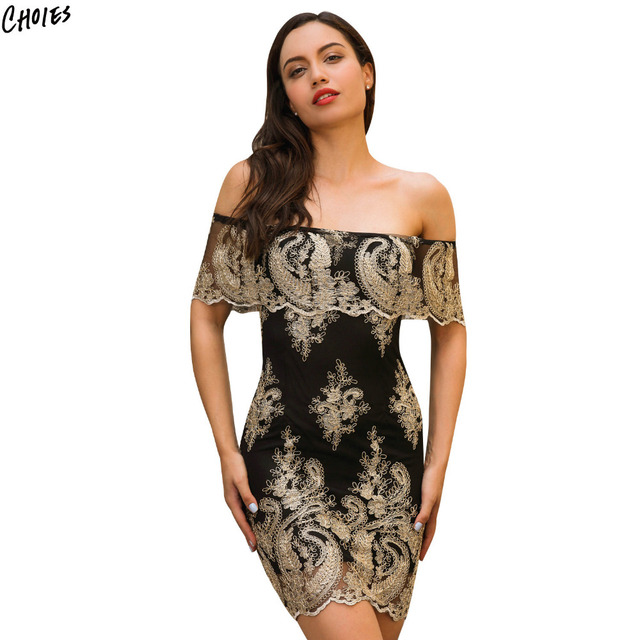 bc05142b652e Black and Gold Off Shoulder Floral Embroidery Bodycon Mini Dress Women  Backless with Zipper Vintage Elegant Party Dresses