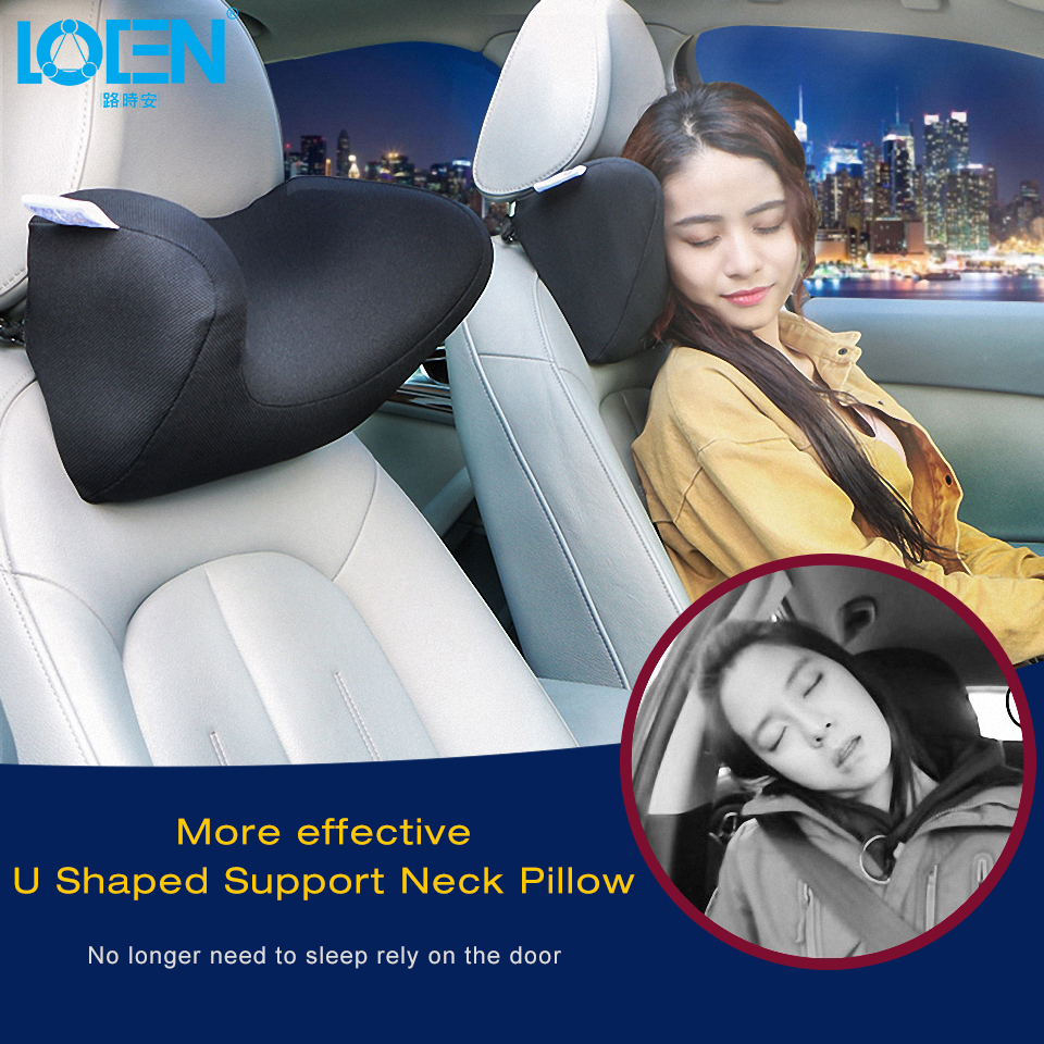 LOEN U Shape Memory Foam Car Travel Pillow Neck Pillows to Ease Fatigue Black Blue Red Brown Gray Headrest For Auto Office Air