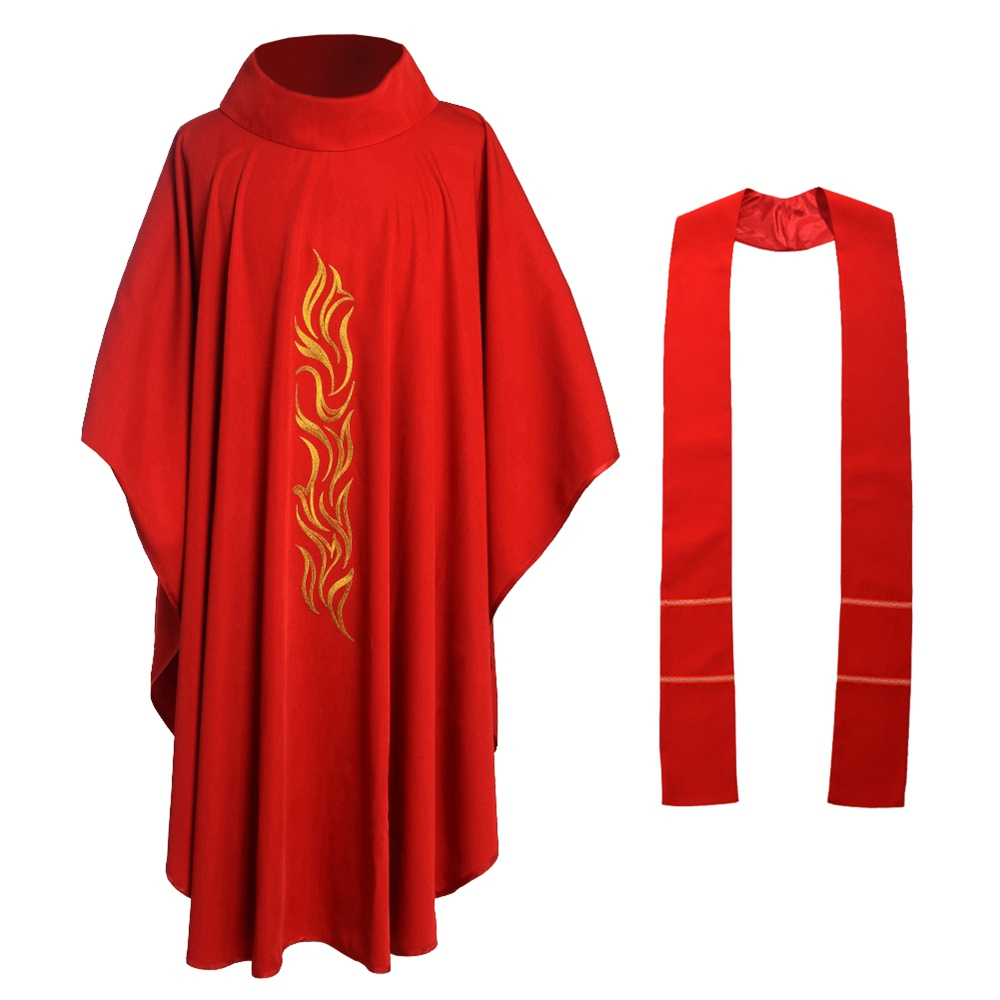 Red Catholic Church Chasuble Priest Vestments Robe Clegy Apparel Платье